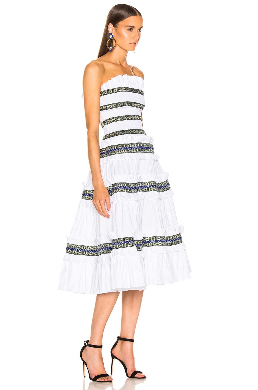 Image 2 of Caroline Constas Carina Smocked Dress in White & Blue
