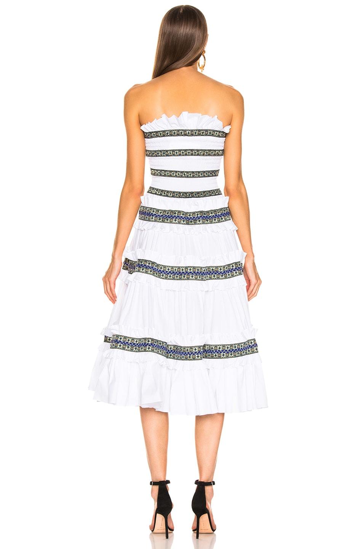 Image 3 of Caroline Constas Carina Smocked Dress in White & Blue