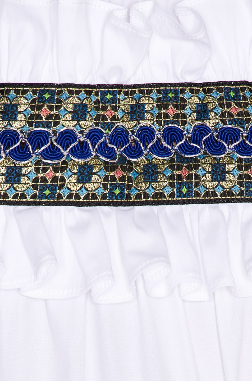 Image 4 of Caroline Constas Carina Smocked Dress in White & Blue
