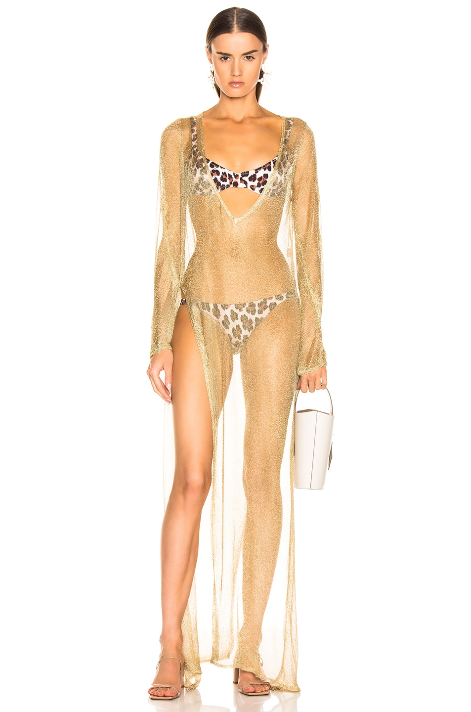 Image 1 of Caroline Constas Mesh Knit Cover Up in Gold