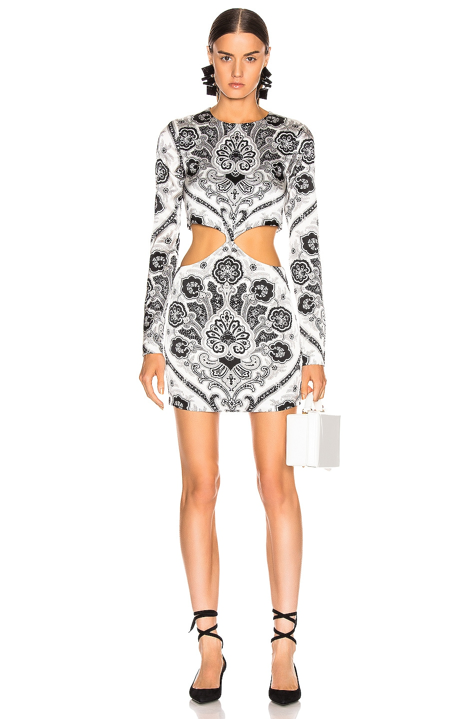 Image 1 of Caroline Constas Lila Knot Maxi Dress in White Multi
