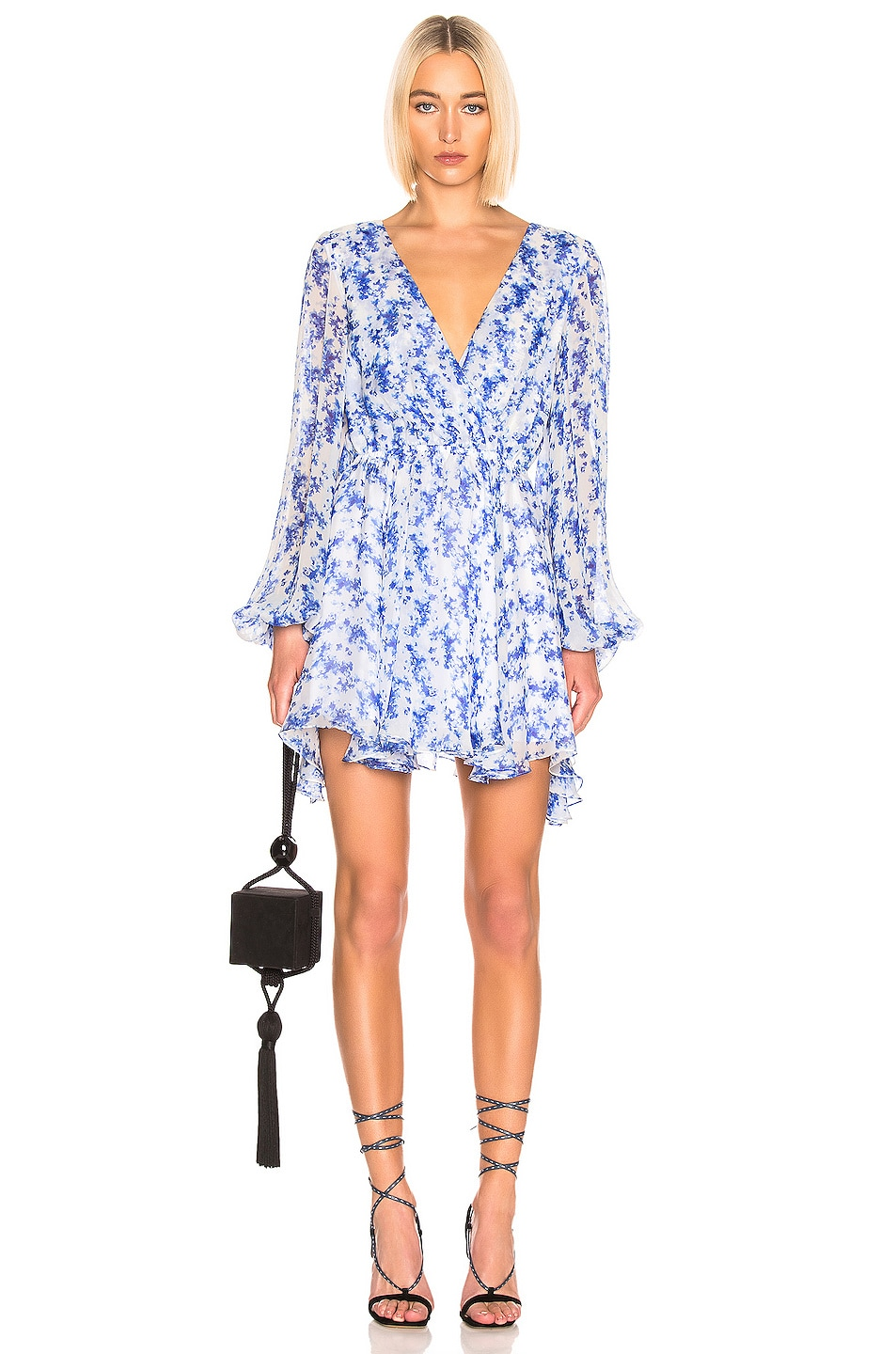 Image 1 of Caroline Constas Olena Dress in Blue & White