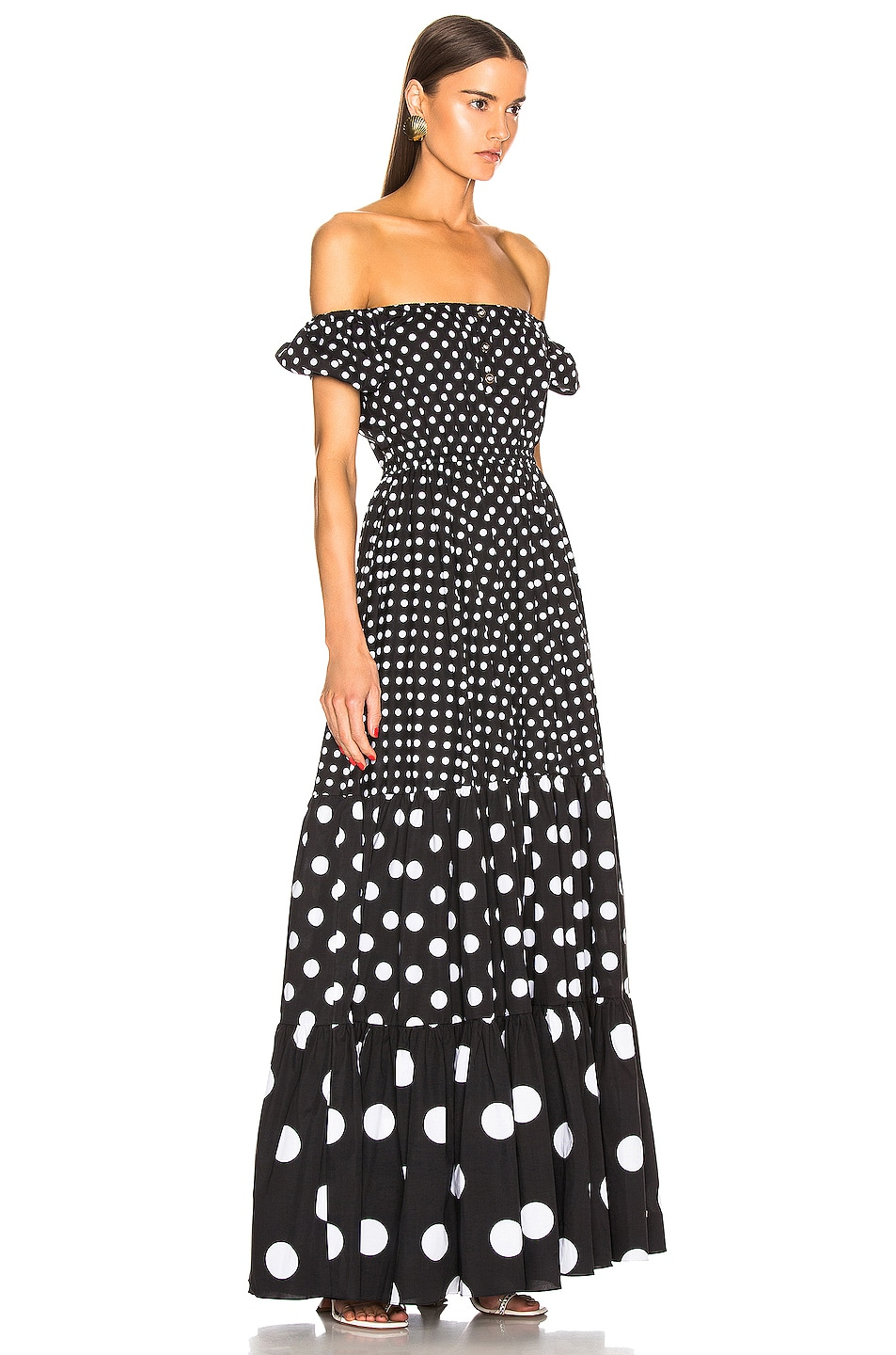 Image 2 of Caroline Constas Bardot Maxi Dress in Black Multi