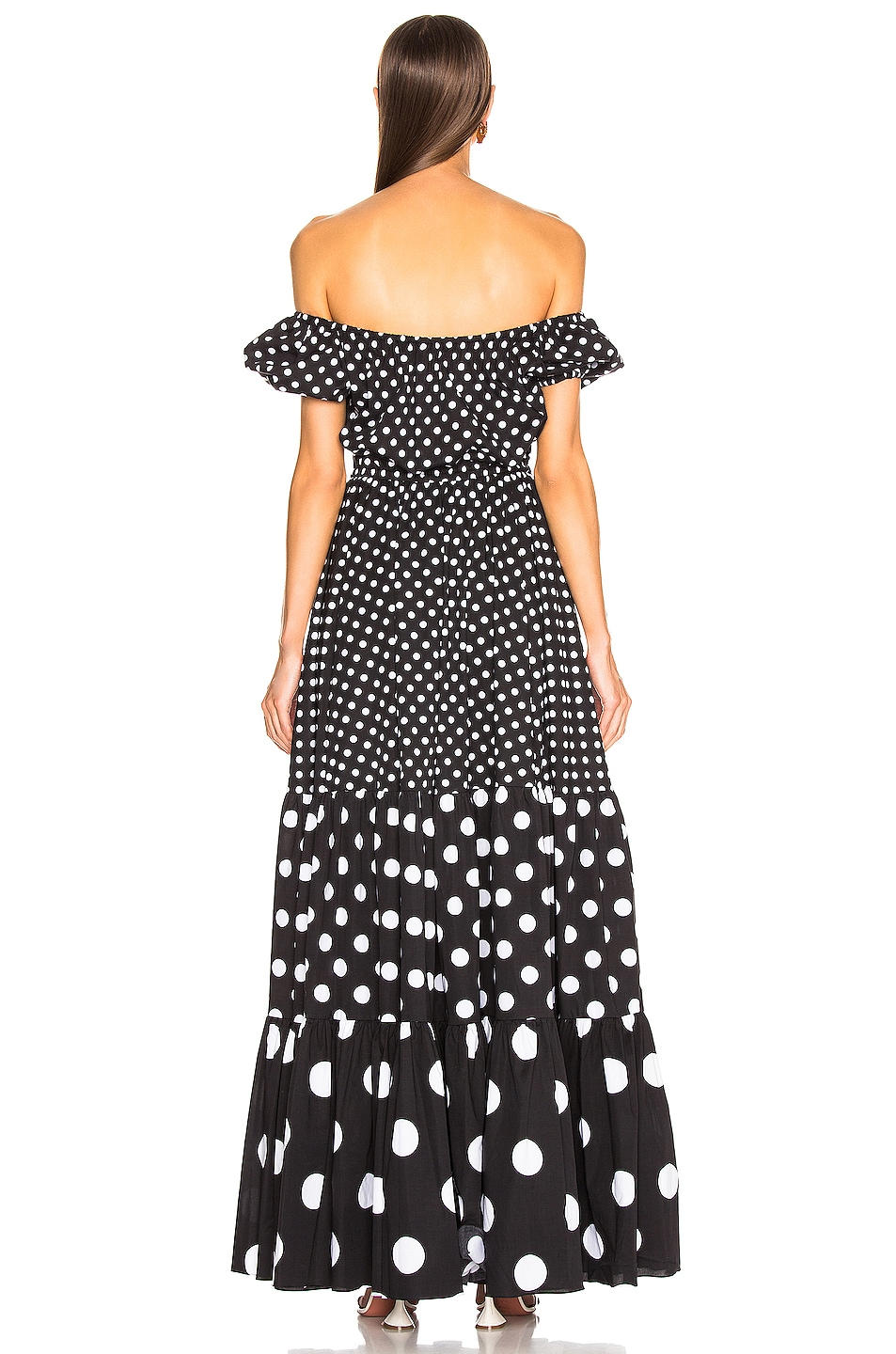 Image 3 of Caroline Constas Bardot Maxi Dress in Black Multi