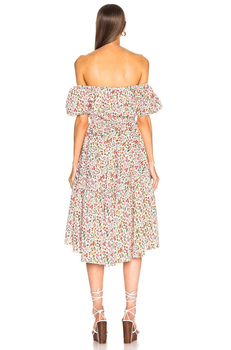 Image 3 of Caroline Constas Bardot Flounce Dress in White Multi