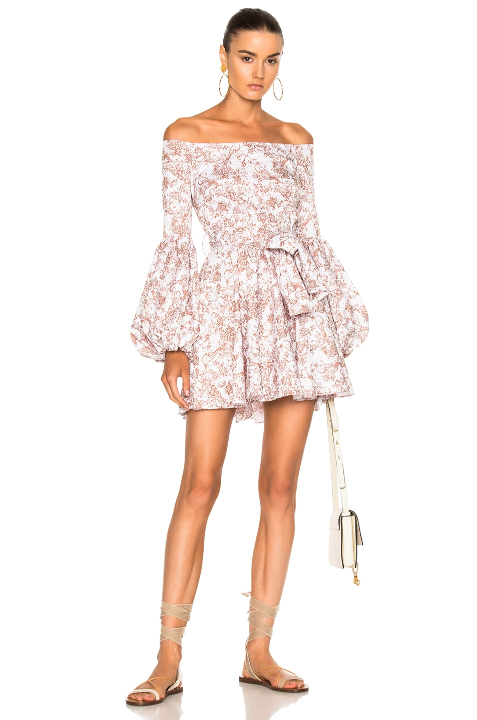 d3097589fd6e Image 1 of Caroline Constas Gisele Mini Dress in Beige Multi