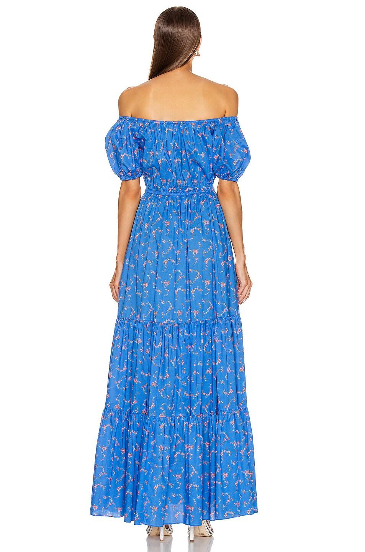 Image 4 of Caroline Constas Bardot Cotton Maxi Dress in Blue