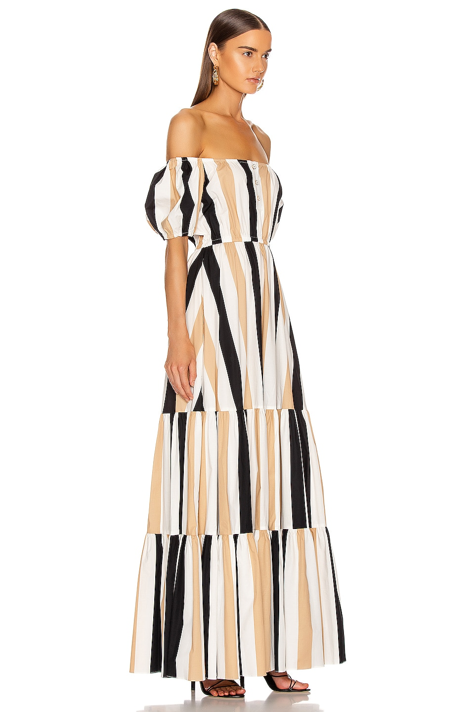 Image 2 of Caroline Constas Bardot Maxi Dress in Beige