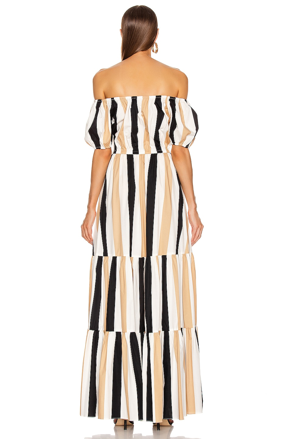 Image 3 of Caroline Constas Bardot Maxi Dress in Beige