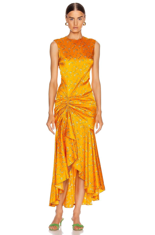 Image 1 of Caroline Constas Lonnie Dress in Tangerine