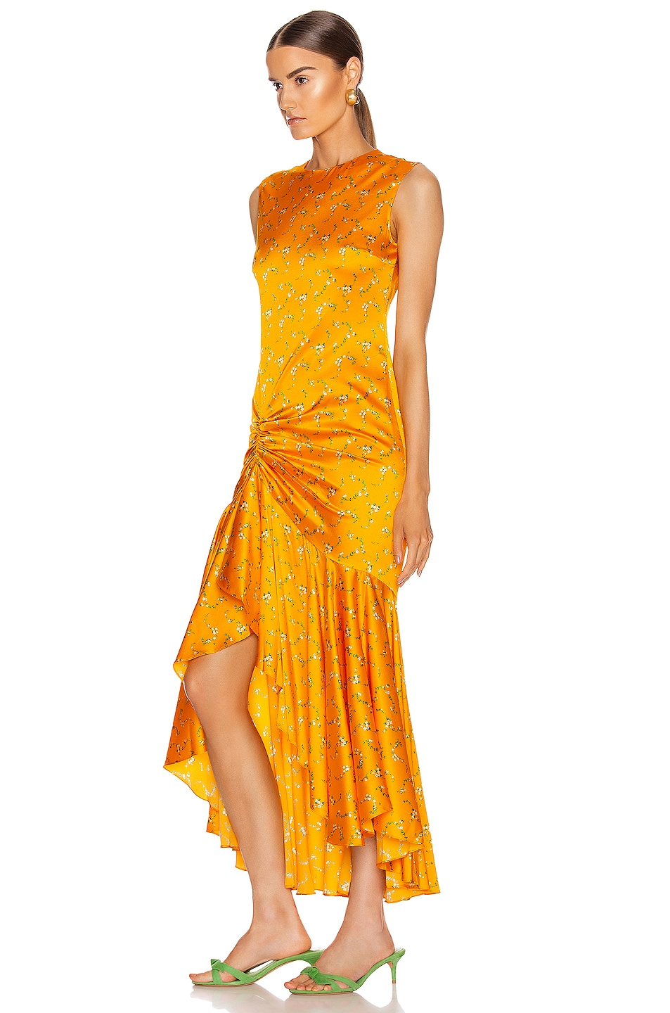 Image 3 of Caroline Constas Lonnie Dress in Tangerine