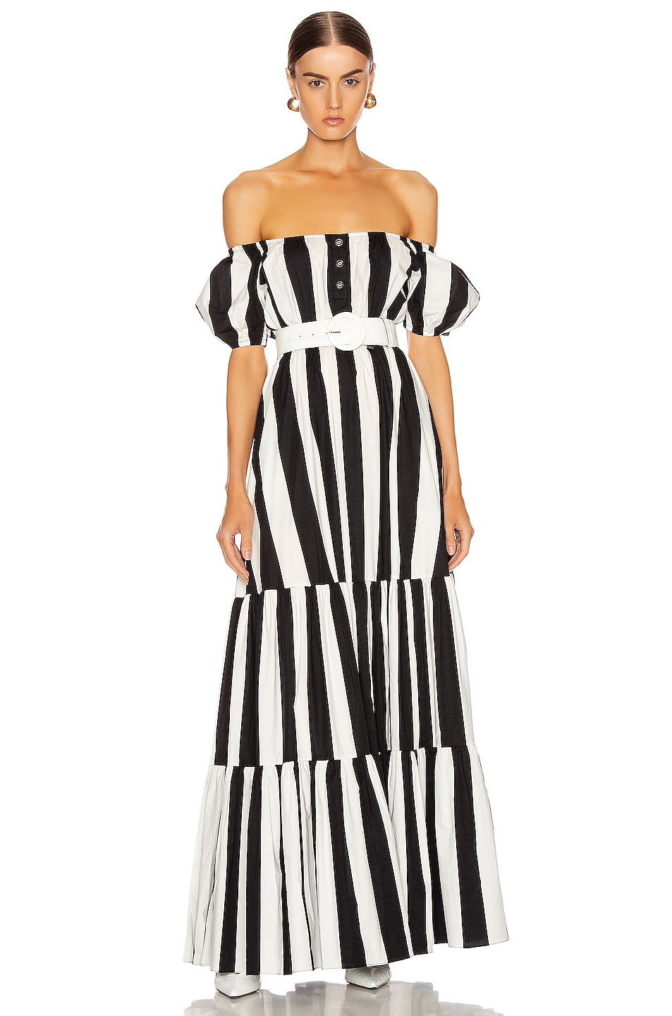 Image 1 of Caroline Constas Bardot Maxi Dress in Black & White