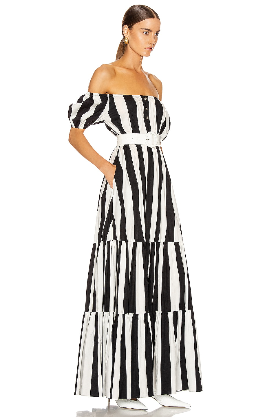 Image 2 of Caroline Constas Bardot Maxi Dress in Black & White