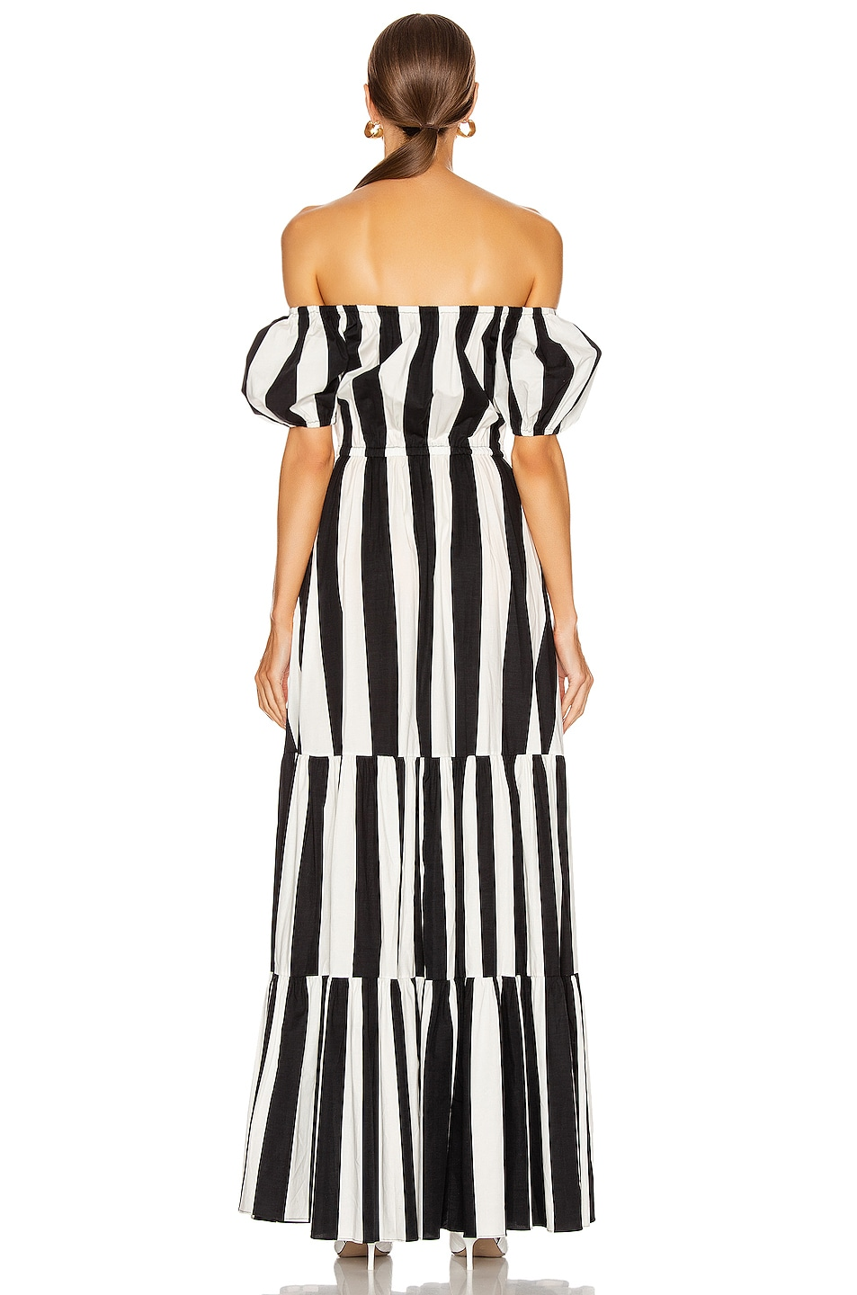 Image 3 of Caroline Constas Bardot Maxi Dress in Black & White