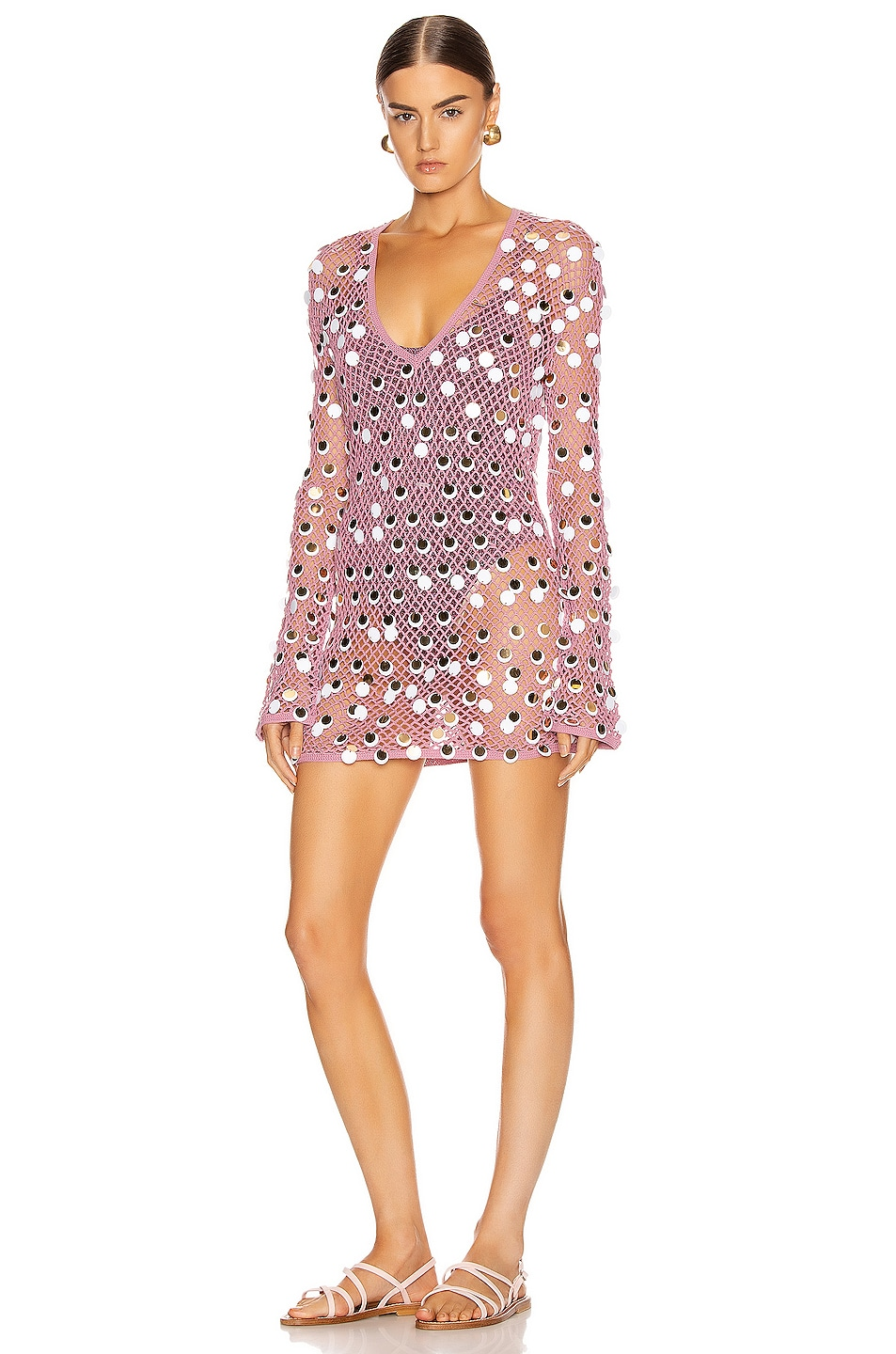 Image 1 of Caroline Constas Long Sleeve Crochet Cover Up in Mauve