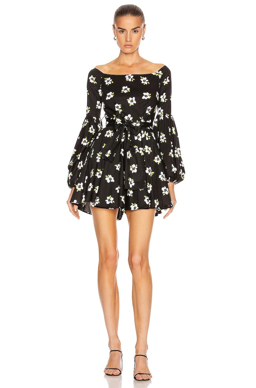 Image 1 of Caroline Constas Mini Gisele Dress in Black & White
