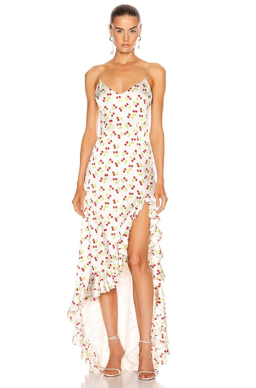 Image 1 of Caroline Constas Ruffle Slip Gown in Cherry