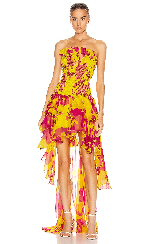 Image 1 of Caroline Constas Lola Smocked Dress in Yellow & Fuchsia