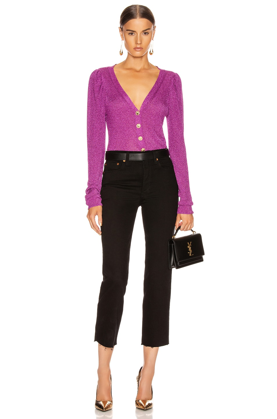 Image 5 of Caroline Constas Long Sleeve Cardigan Top in Purple