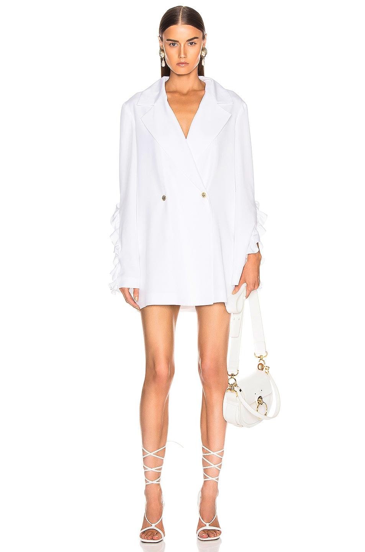 Image 1 of Caroline Constas Ruffle Blazer in White