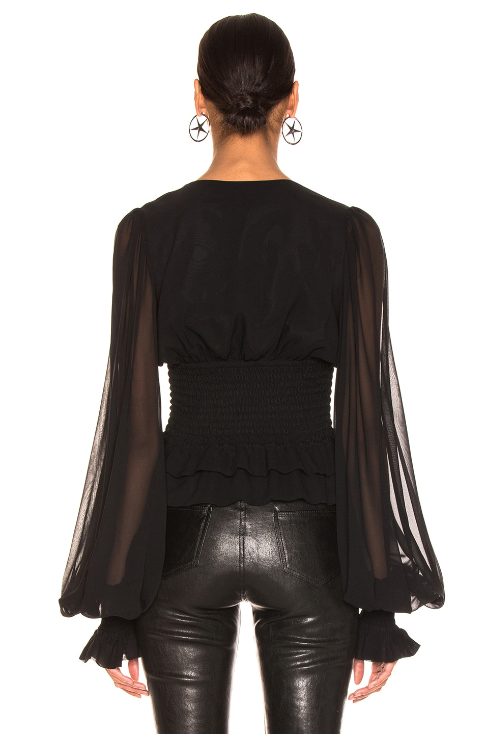 Image 3 of Caroline Constas Sonia Blouse in Solid Black