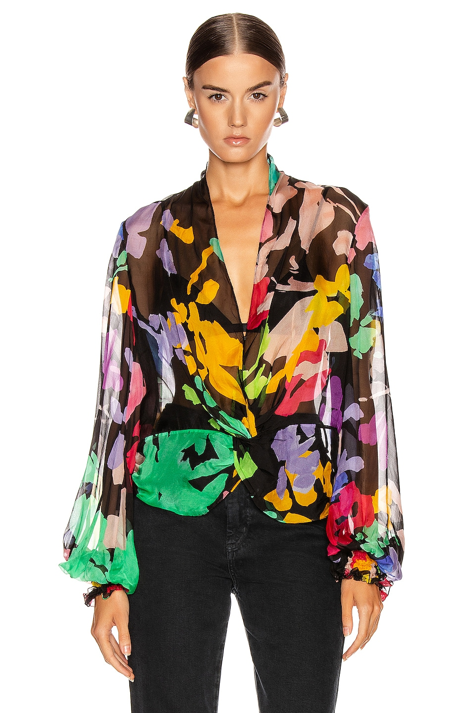 Image 2 of Caroline Constas Bette Blouse in Black Multi