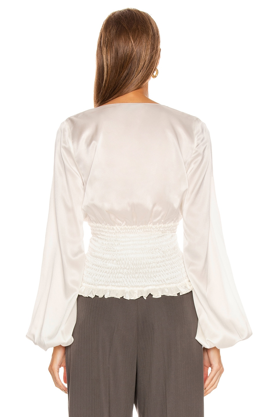 Image 4 of Caroline Constas Smocked Sonya Top in White