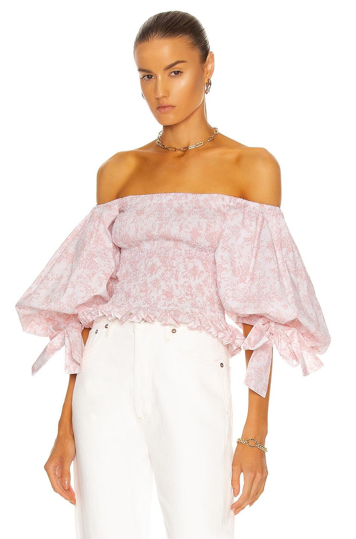 Image 1 of Caroline Constas Puff Sleeve Smocked Top in Blush