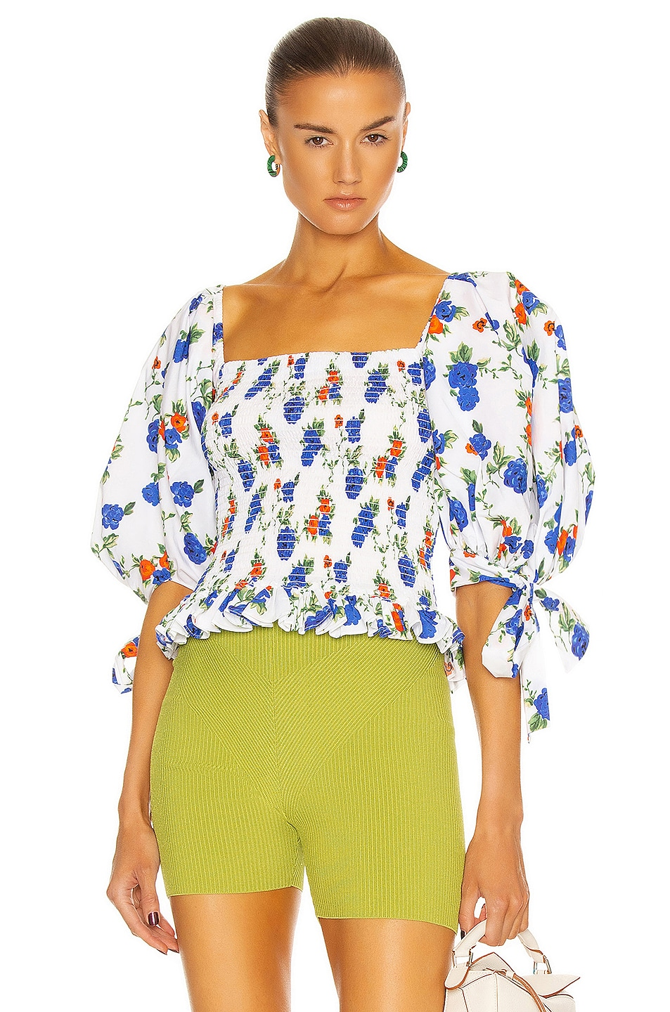 Image 1 of Caroline Constas Puff Sleeve Smocked Top in White & Blue
