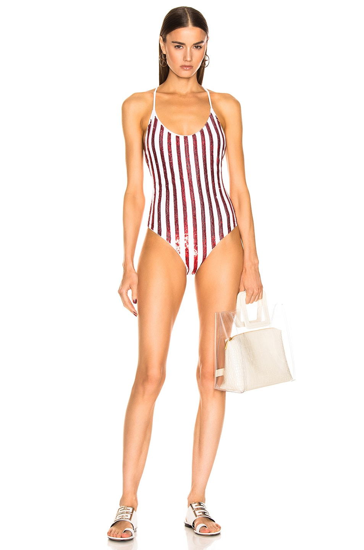Image 1 of Caroline Constas Delfina One Piece in Red Sequin Stripe
