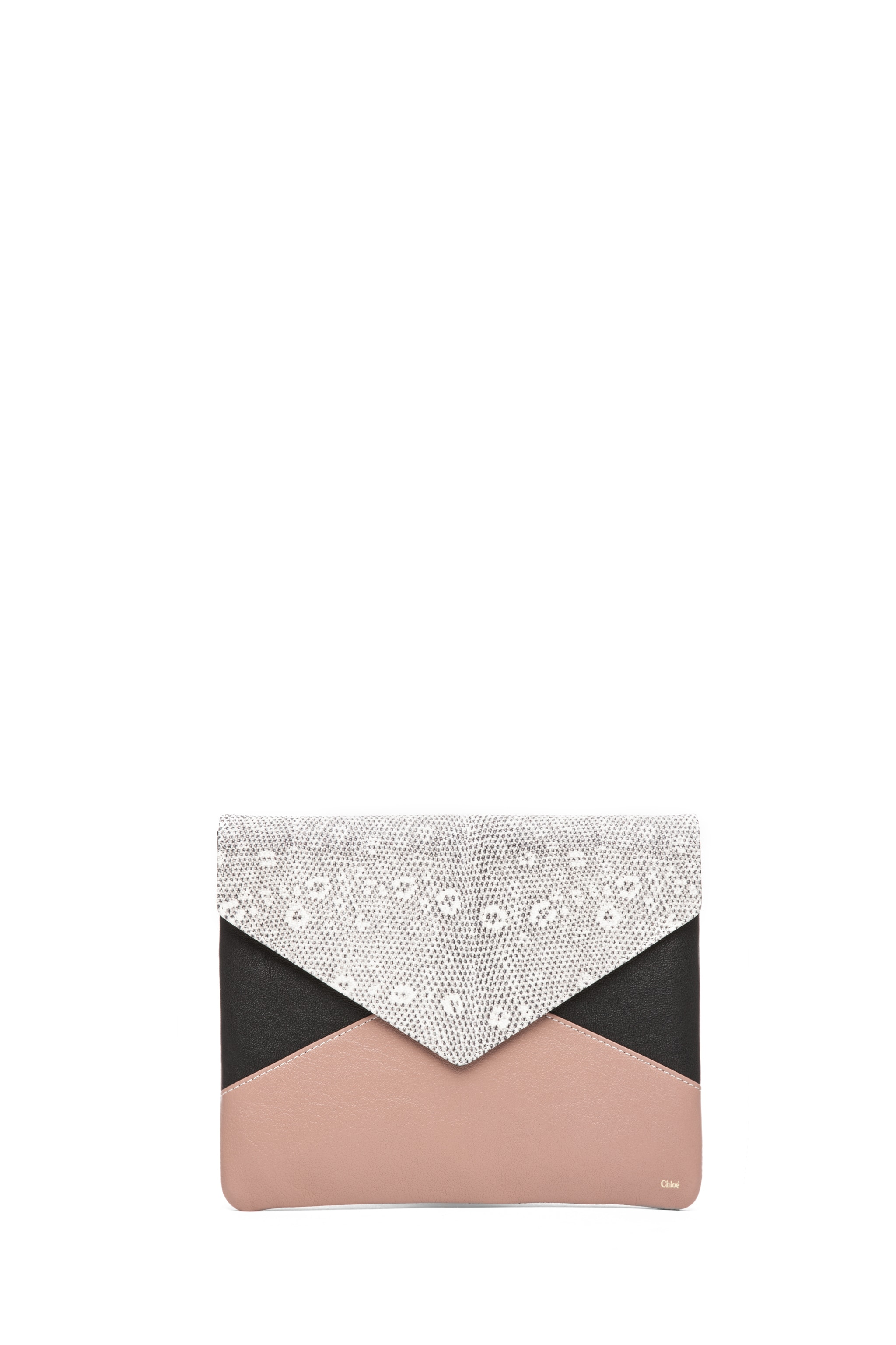 Image 1 of Chloe Patchwork Clutch in Black & White