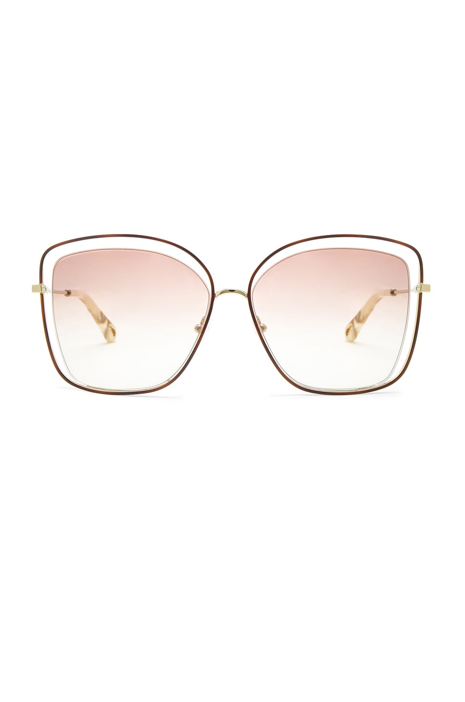 6d6cc9968b9 Image 1 of Chloe Poppy Cat Eye Sunglasses in Havana   Peach