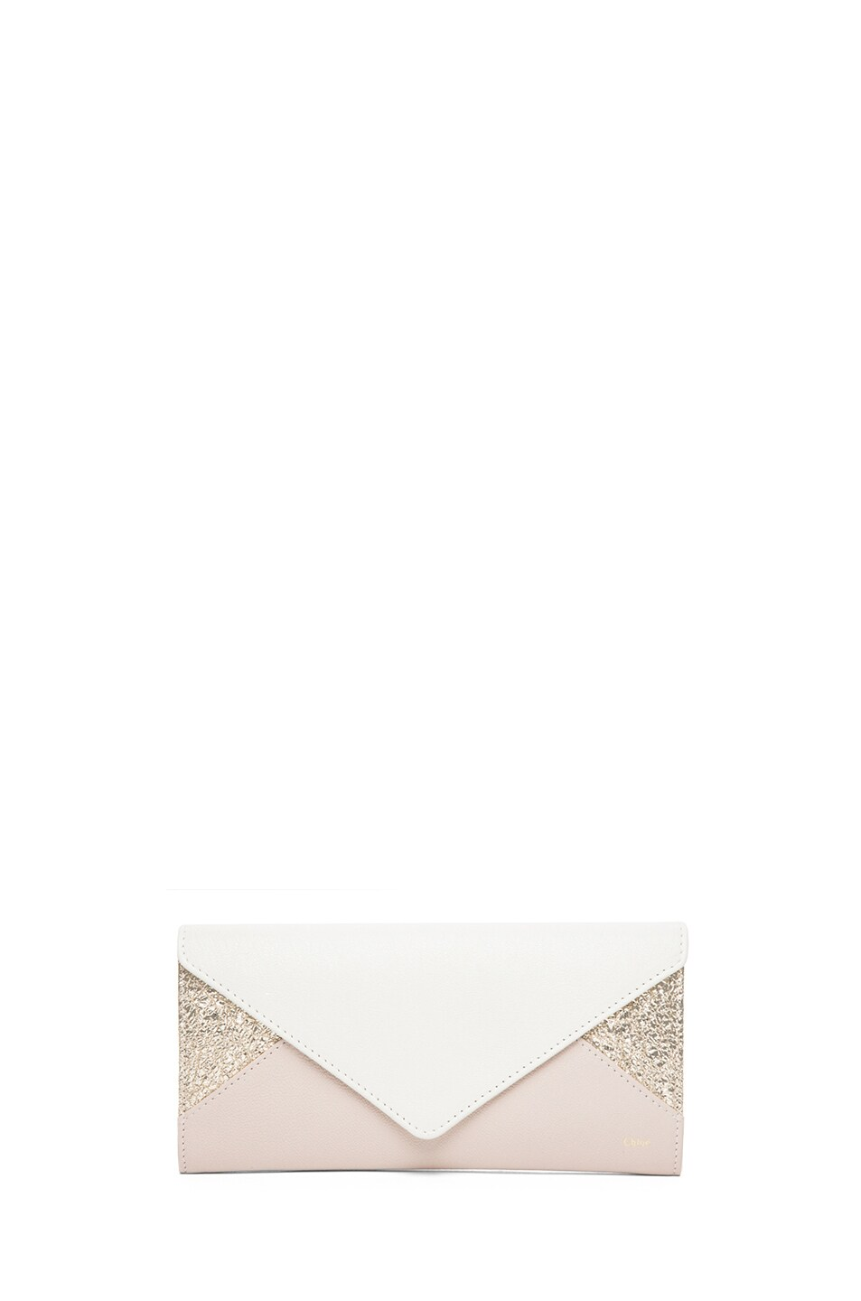 Image 1 of Chloe Patchwork Flap Wallet in Marble White