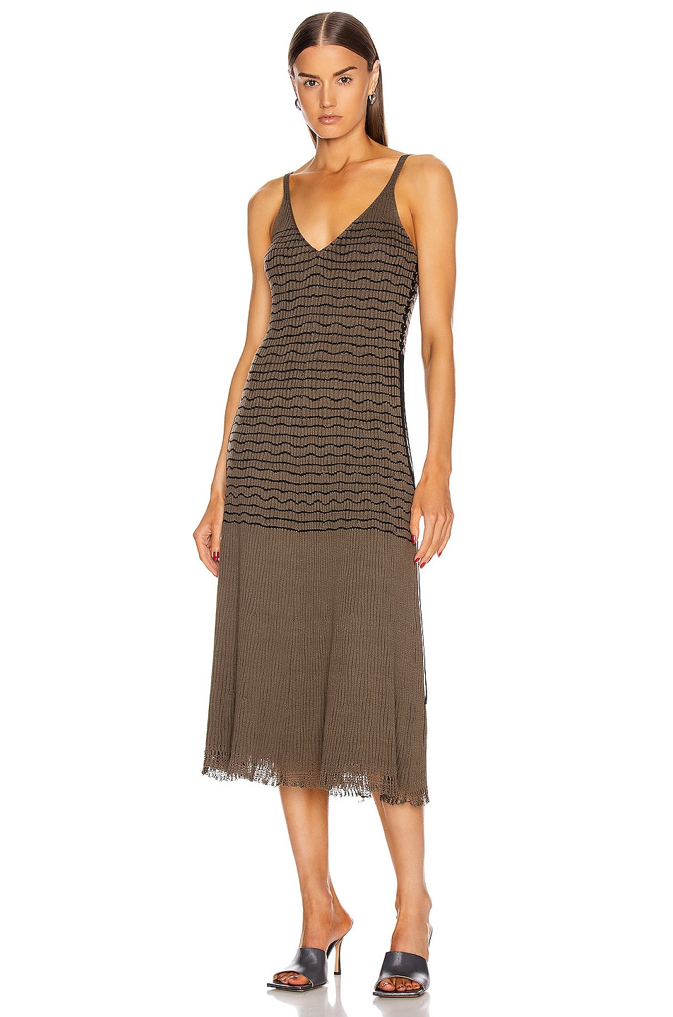 Image 1 of Chloe Sleeveless Stripe Midi Dress in Misty Khaki