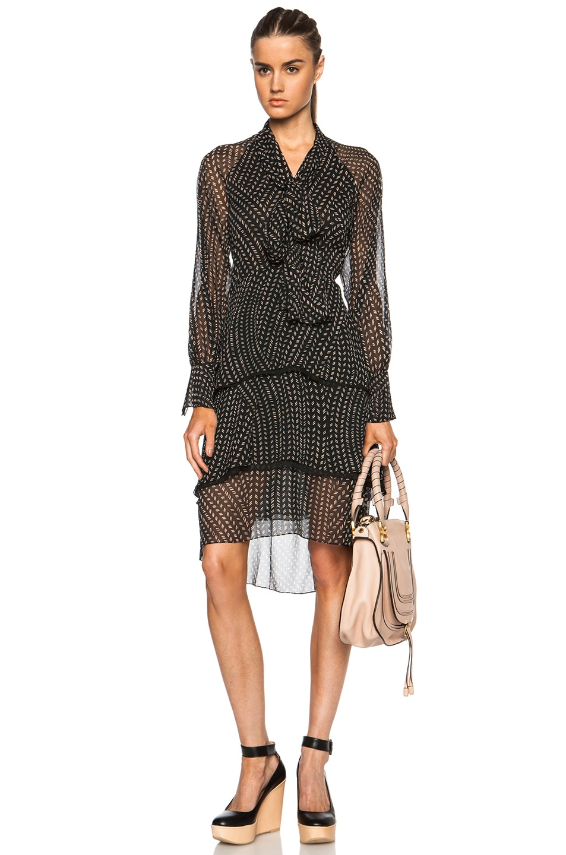 Image 1 of Chloe Printed Grain De Riz Tie Front Poly Dress in Black, White & Nude