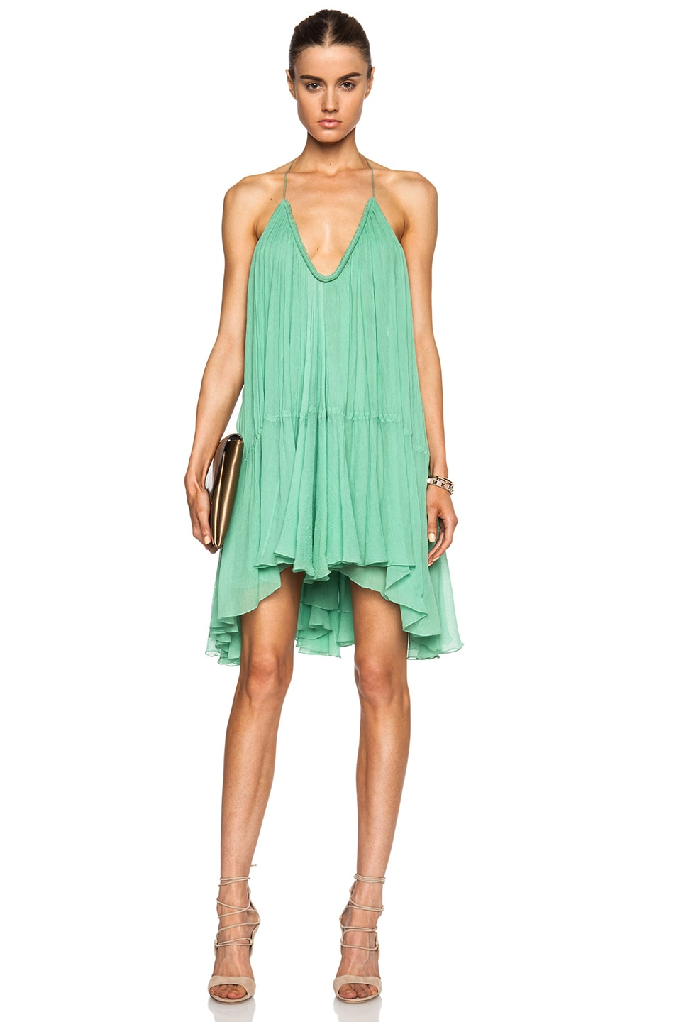 Image 1 of Chloe Silk Crepon V-Neck Mini Dress in Spearmint