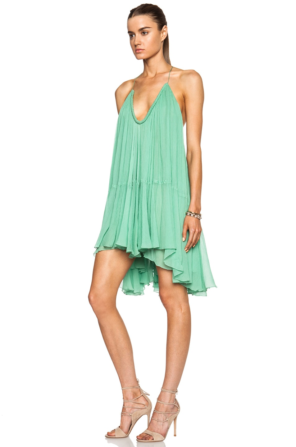 Image 2 of Chloe Silk Crepon V-Neck Mini Dress in Spearmint