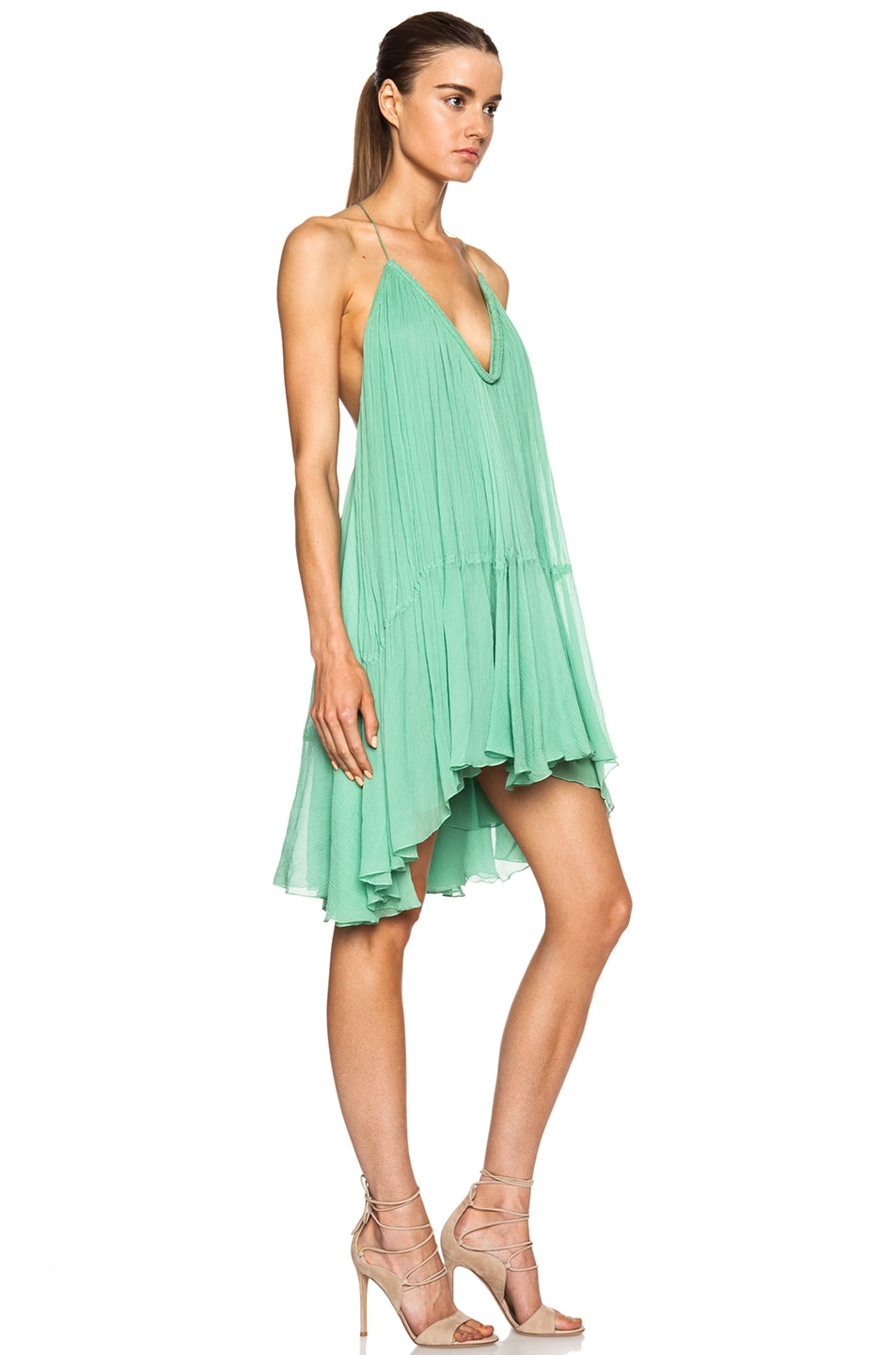 Image 3 of Chloe Silk Crepon V-Neck Mini Dress in Spearmint