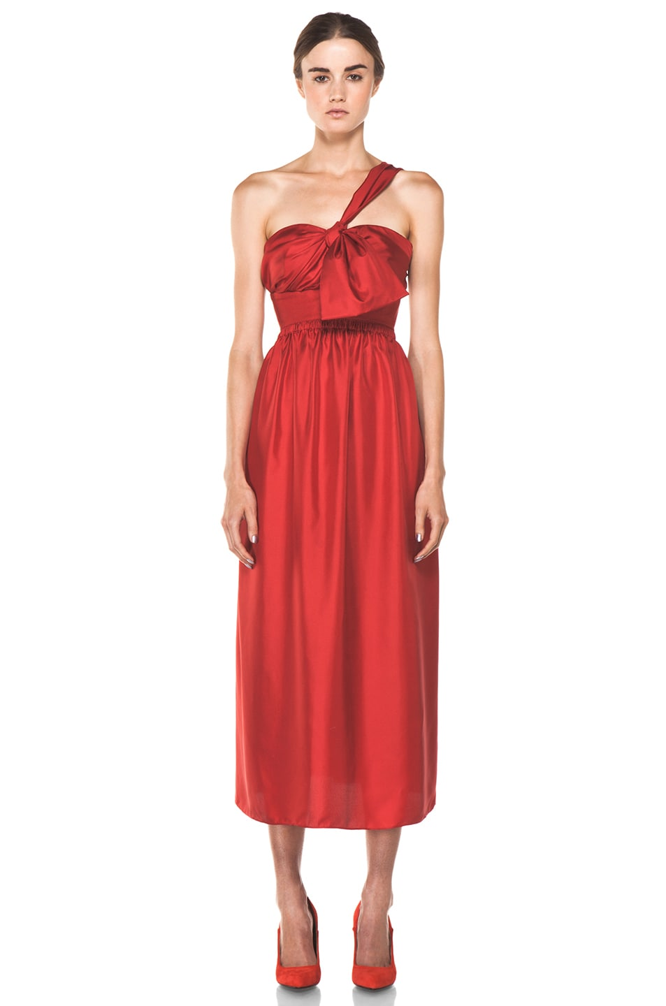 Image 1 of Chloe One Shoulder Silk Bow Dress in Red