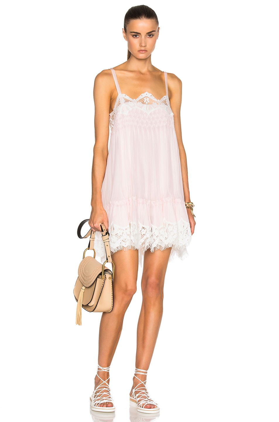 Image 1 of Chloe Smocked Georgette & Lace Dress in Fresh Pink & White