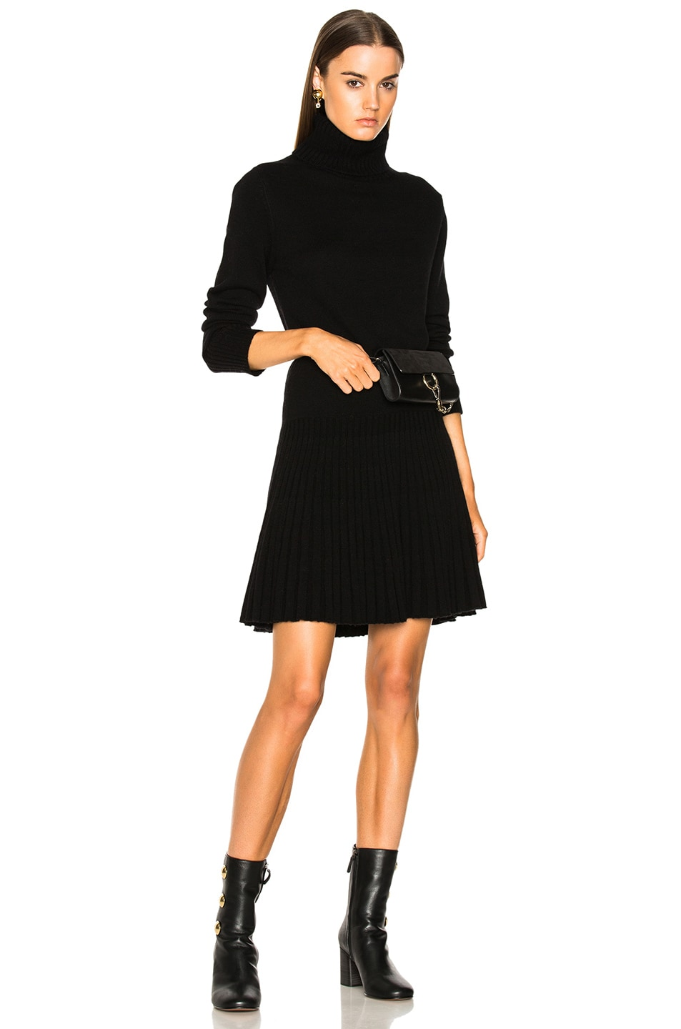 7fdb727f65a Image 1 of Chloe Iconic Cashmere Turtleneck Sweater Dress in Black