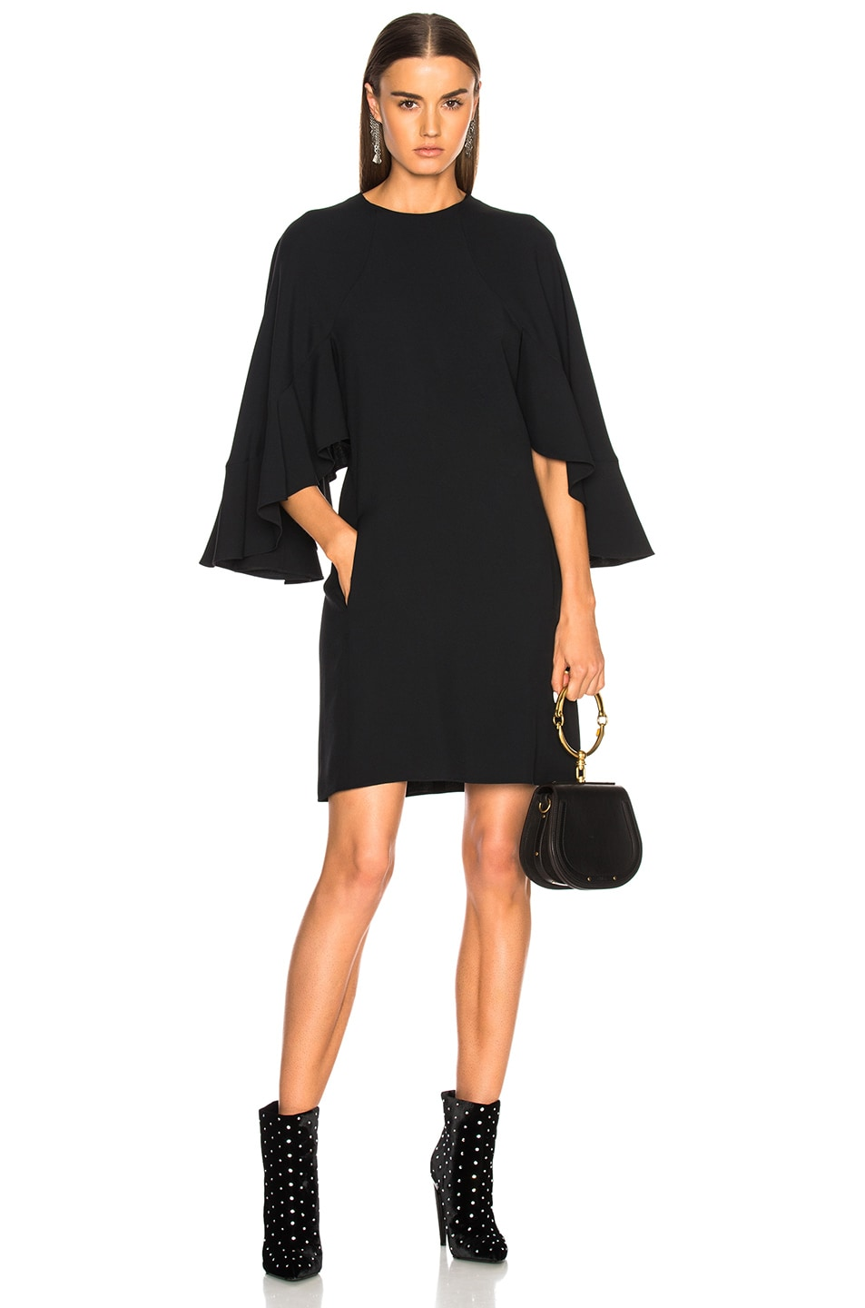 Chloe Light Cady Ruffle Sleeve Mini Dress in Black
