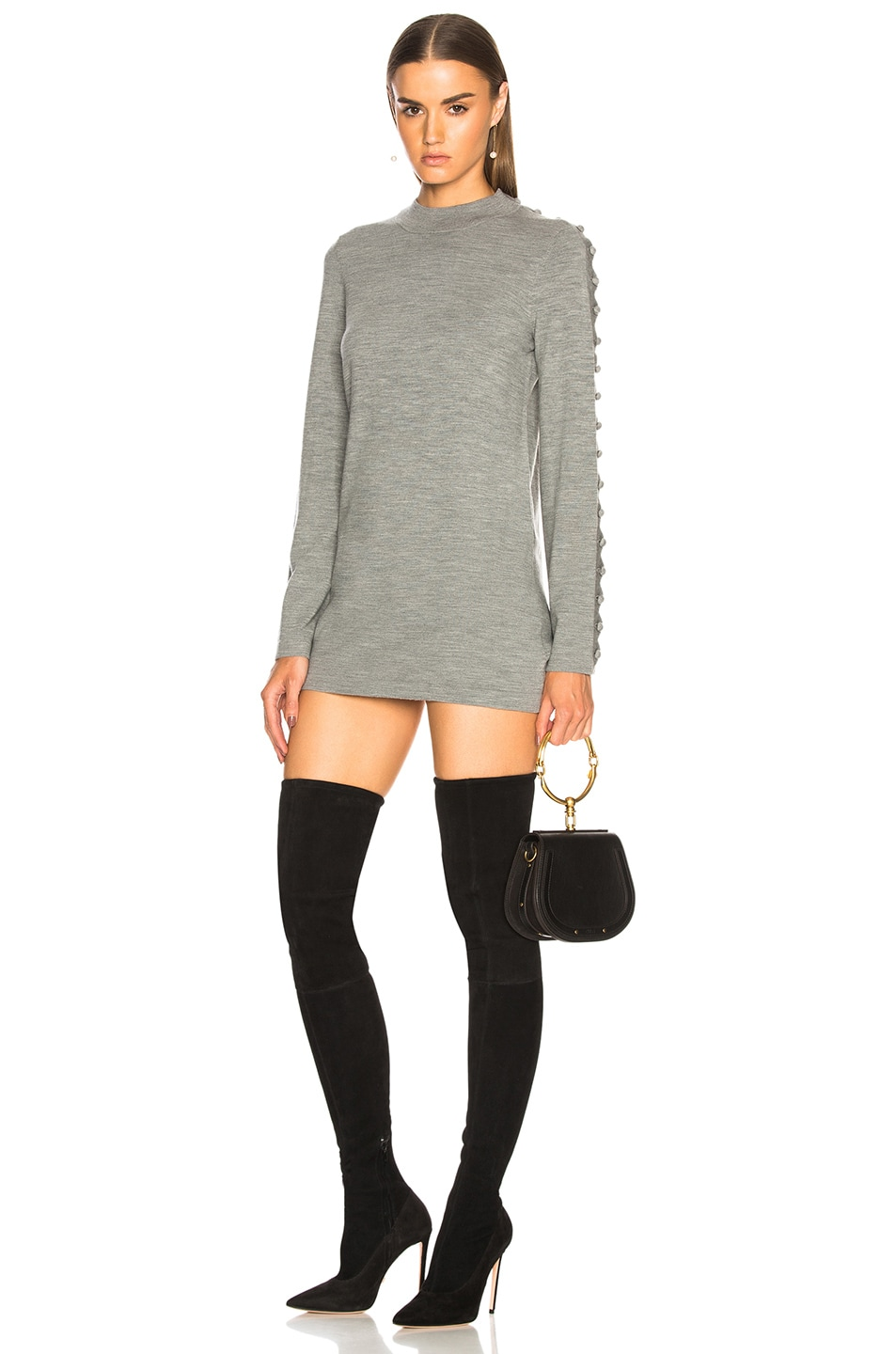 Chloe Superfine Knit Embellished Sleeve Sweater Dress in Gray