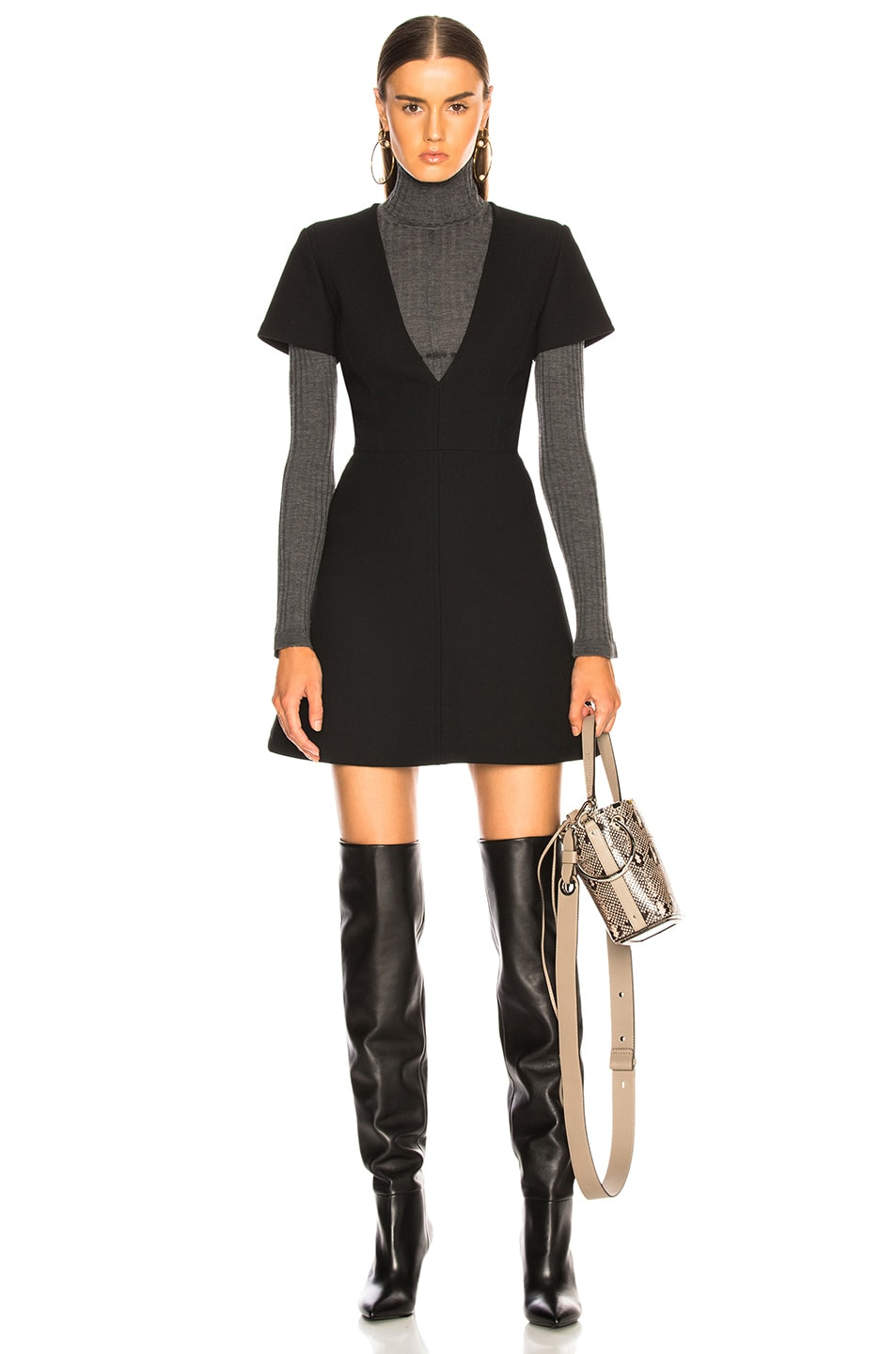 Image 1 of Chloe Double Face Wool Crepe Mini Dress in Black