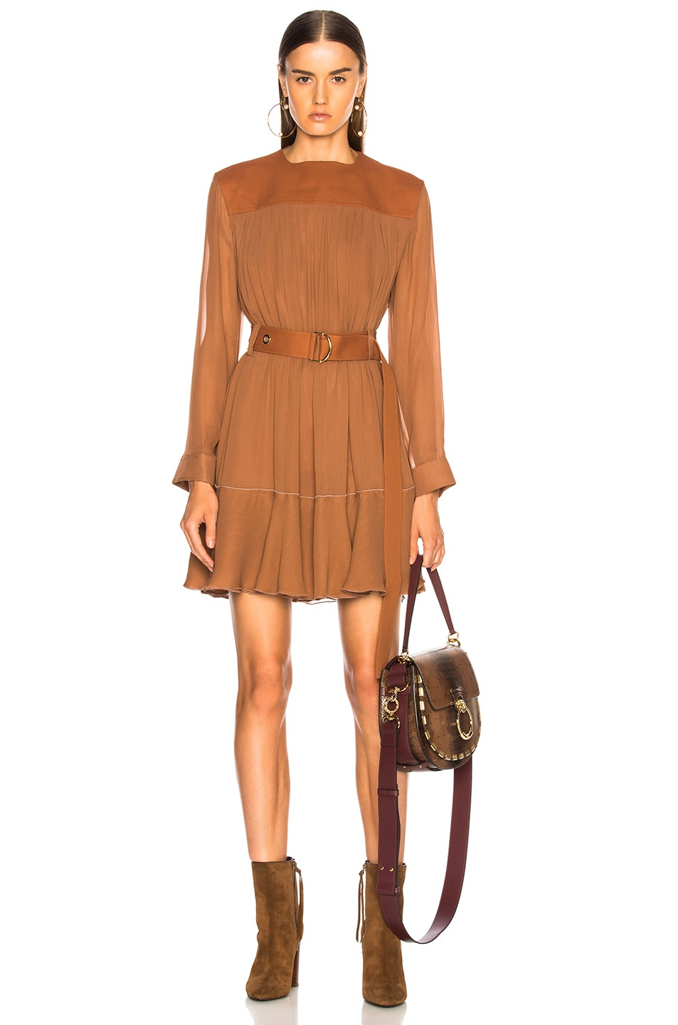 Image 1 of Chloe Silk Mix Mousseline Belted Mini Dress in Tropical Brown
