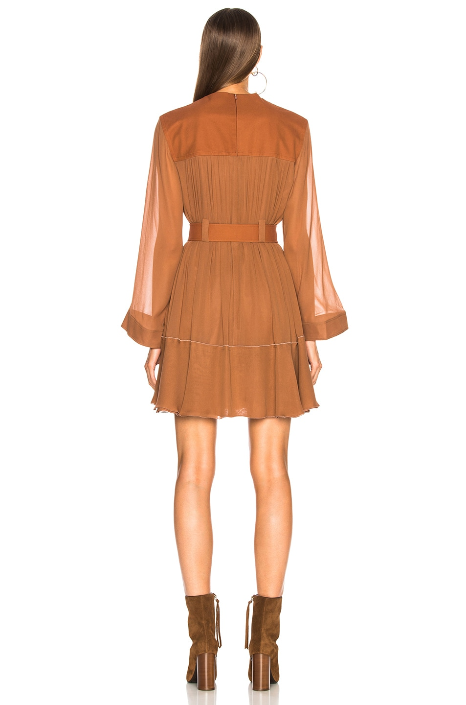 Image 3 of Chloe Silk Mix Mousseline Belted Mini Dress in Tropical Brown