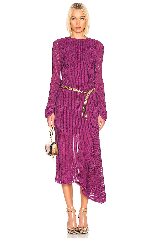 Image 1 of Chloe Rib Open Back Knit Dress in Violet Purple
