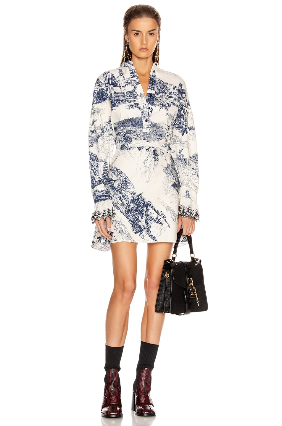 Image 1 of Chloe Long Sleeve Print Mini Dress in White & Blue
