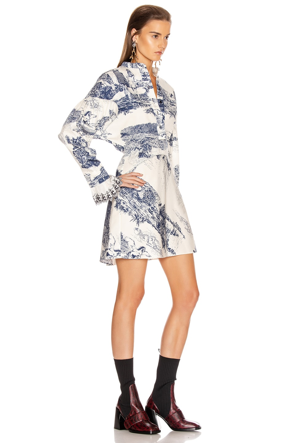 Image 2 of Chloe Long Sleeve Print Mini Dress in White & Blue