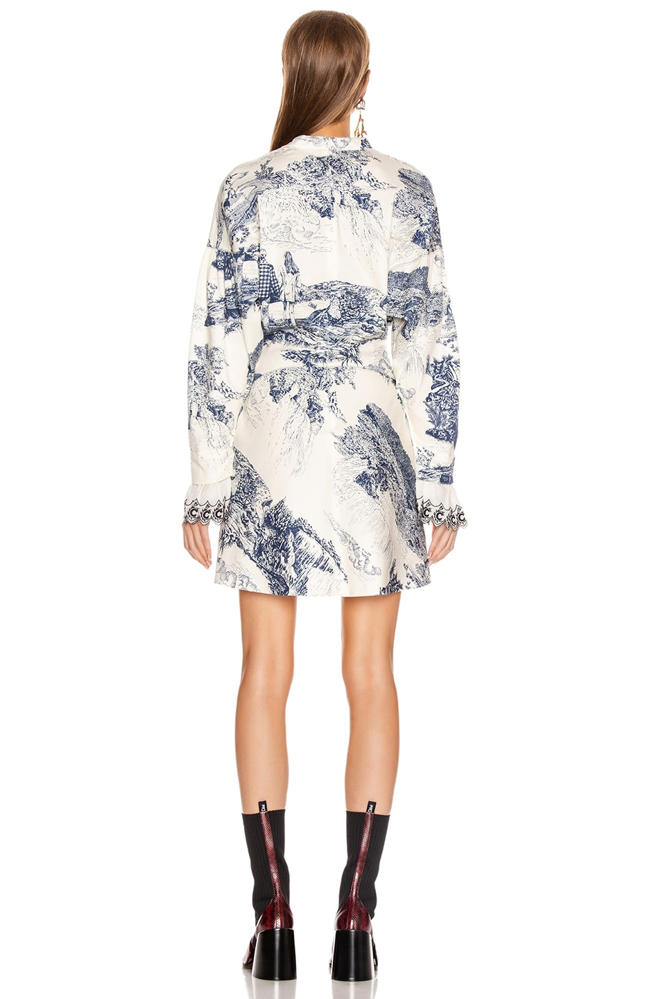 Image 3 of Chloe Long Sleeve Print Mini Dress in White & Blue